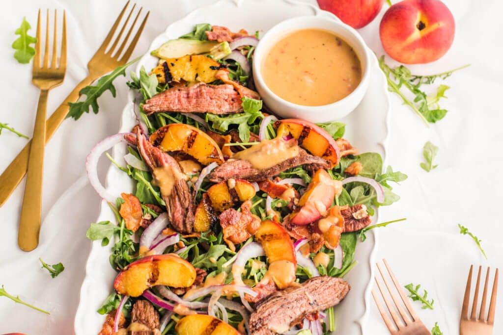 Grilled Peach Steak Salad
