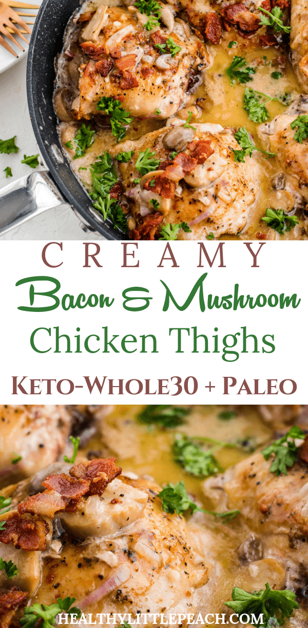 Creamy mushroom and bacon chicken thigh skillet