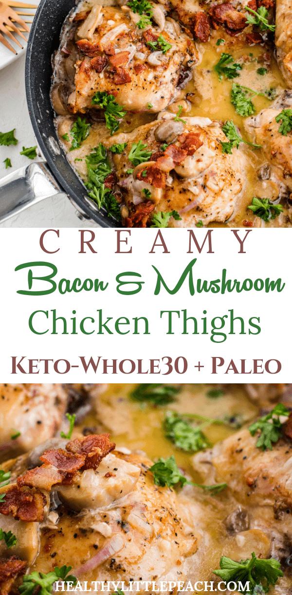 Creamy mushroom and bacon chicken thigh skillet
