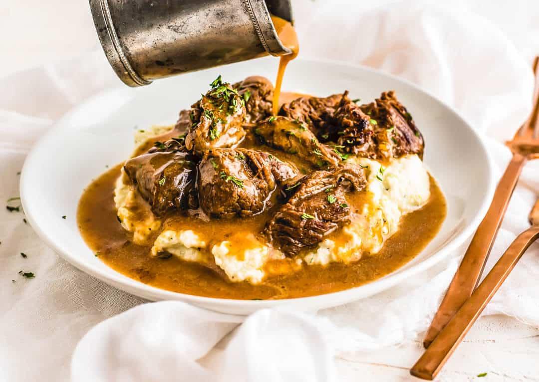 The Beef Tips & Gravy over Cauliflower Mash