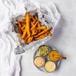 sweet potato fries and sauce