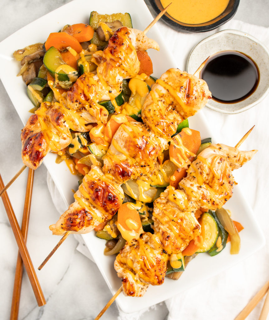 Hibachi Chicken Skewers and veggies