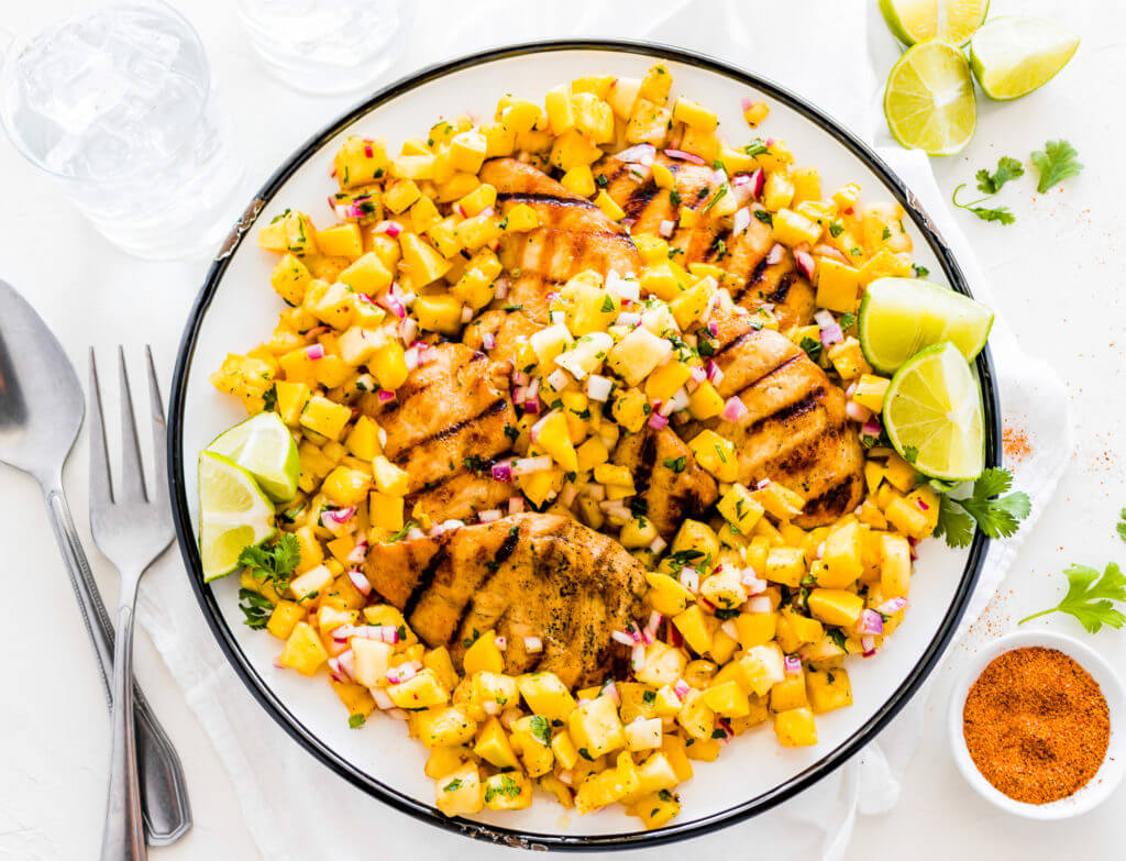 Grilled Lime Chicken Breasts with Mango Pineapple Salsa