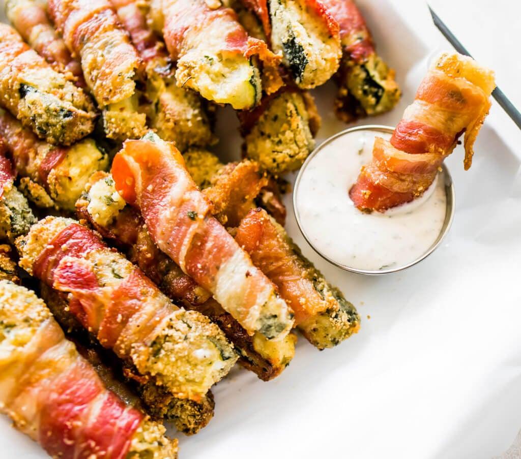 Crispy Bacon Wrapped Zucchini Fries