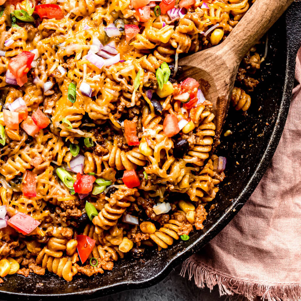 Taco Pasta in a cast iron skillet
