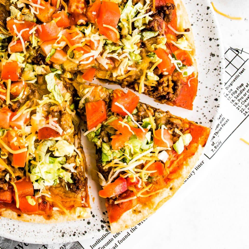 Taco Pizza with Cauliflower Crust