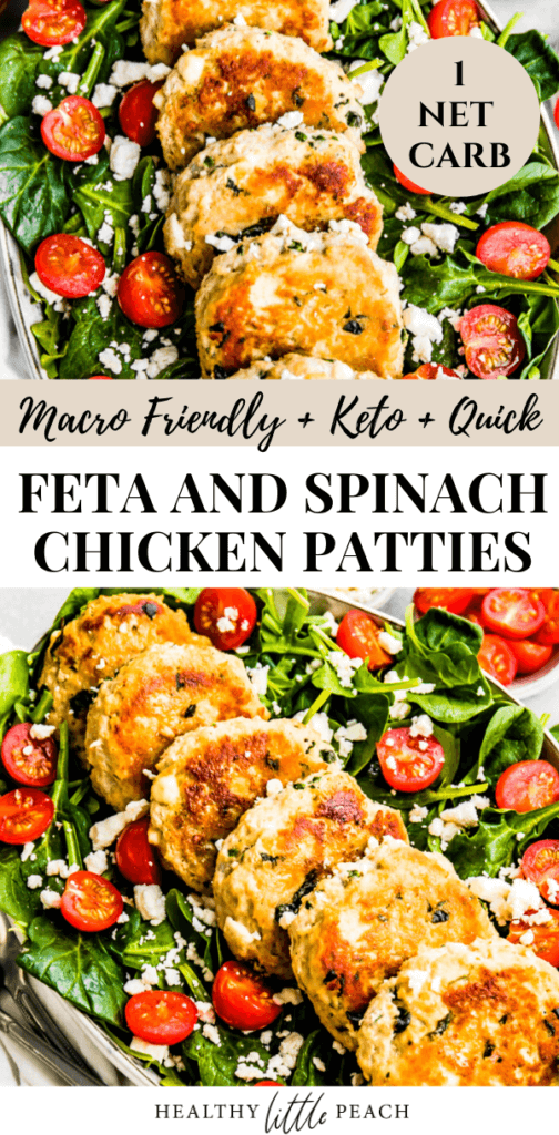 Feta and Spinach Chicken Patties on top of a spinach salad