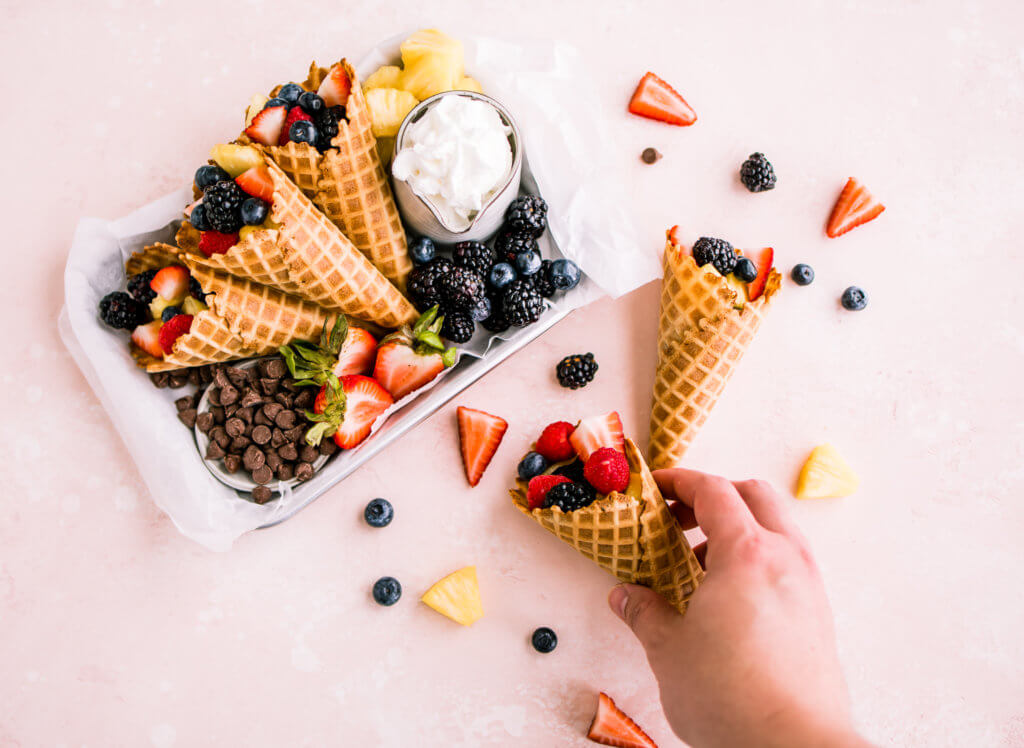 Waffle cone stuffed with fruit