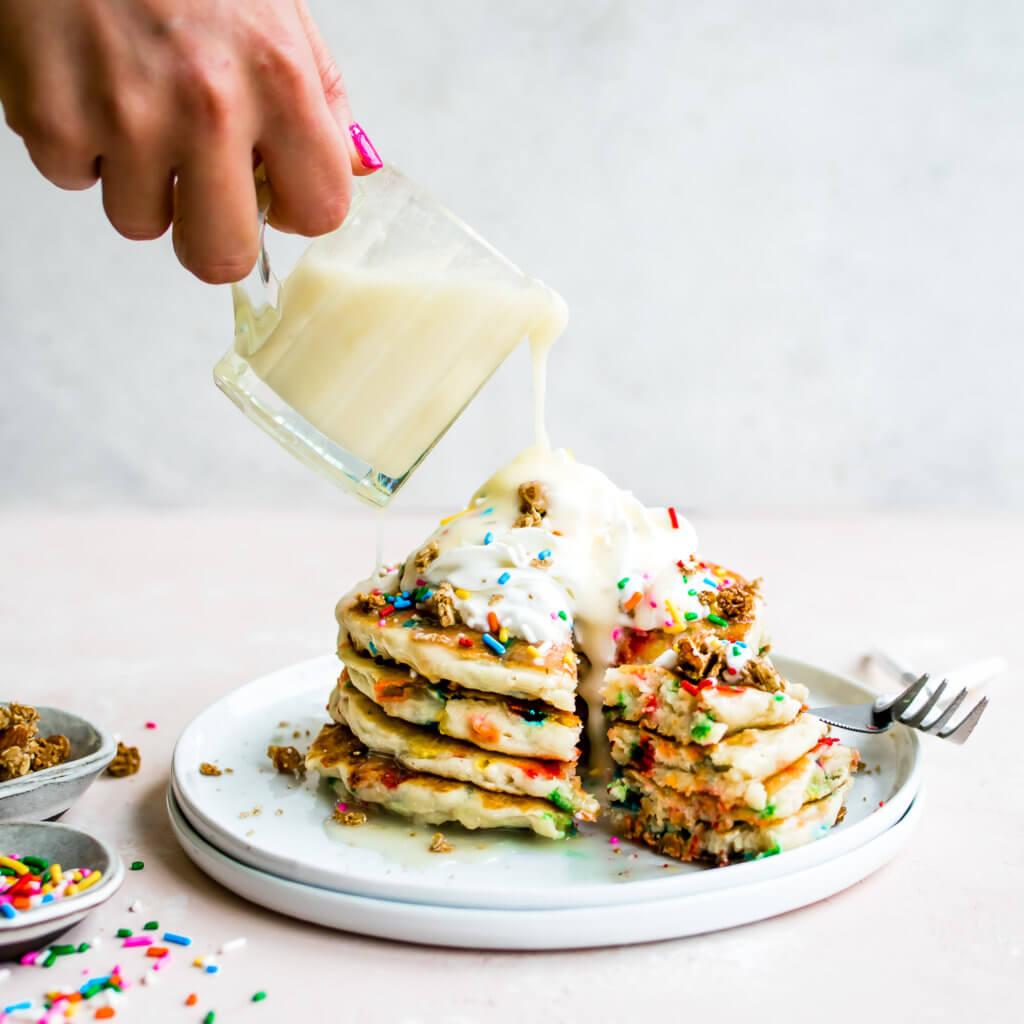 Birthday Cake Pancakes with Buttercream Glaze