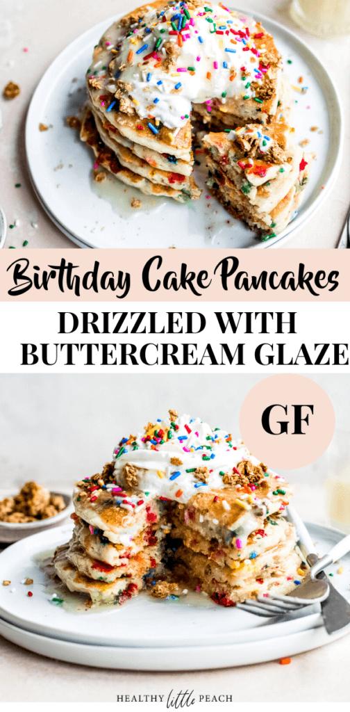Birthday Cake Pancakes with Buttercream Glaze (GF)