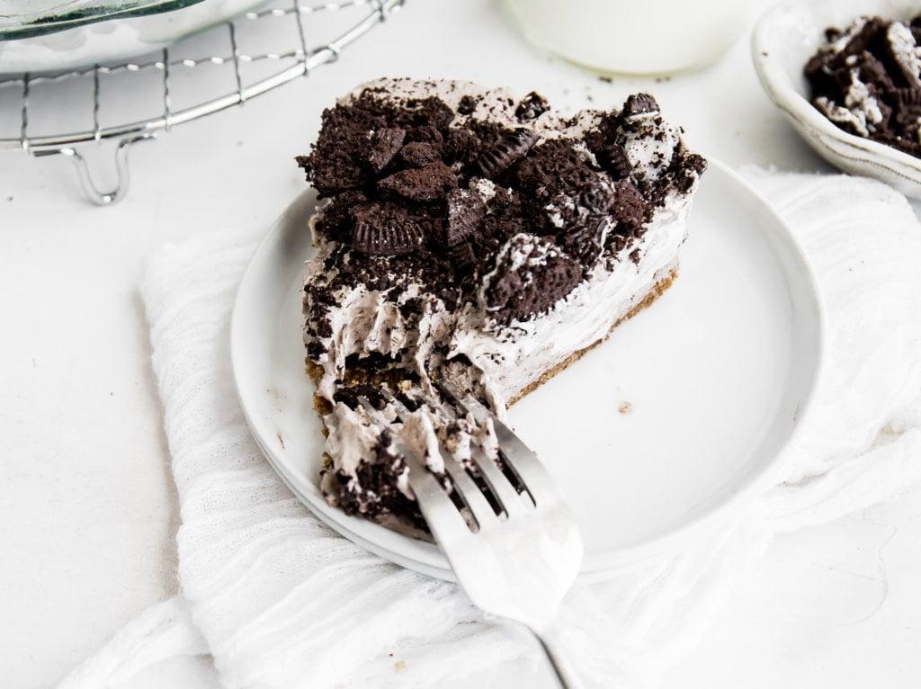A fork cutting through the pie