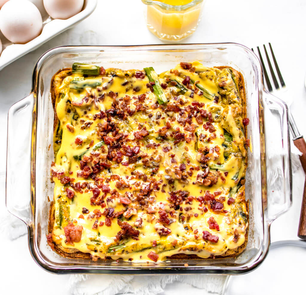 Eggs Benedict casserole with crispy bacon