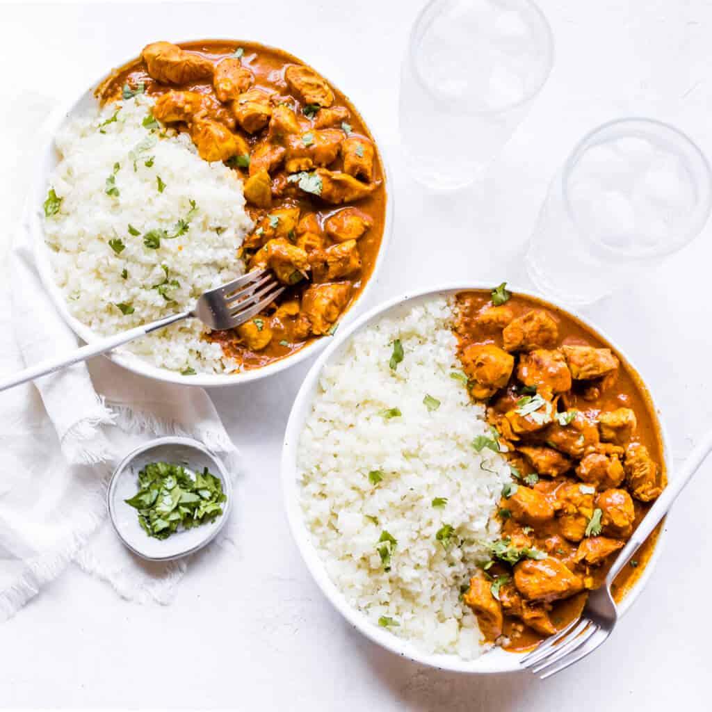 Butter Chicken over cauliflower rice