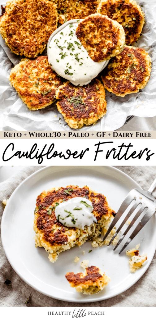 Cauliflower Fritter Pinterest Pin