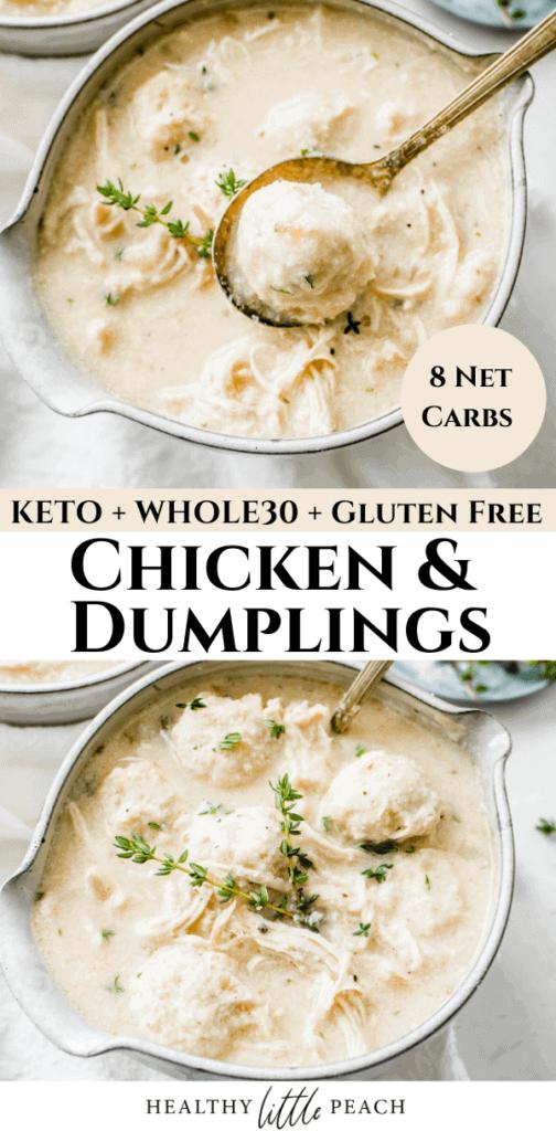 Keto Chicken and Dumplings Pinterest Pin