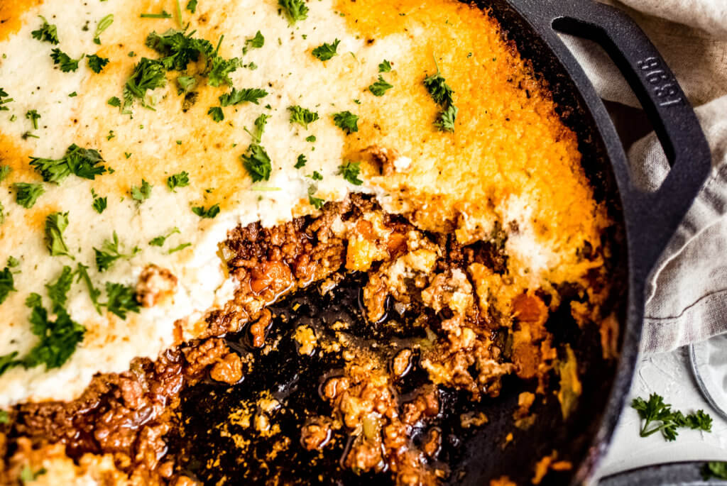 A close up photo of the keto Shepard's pie
