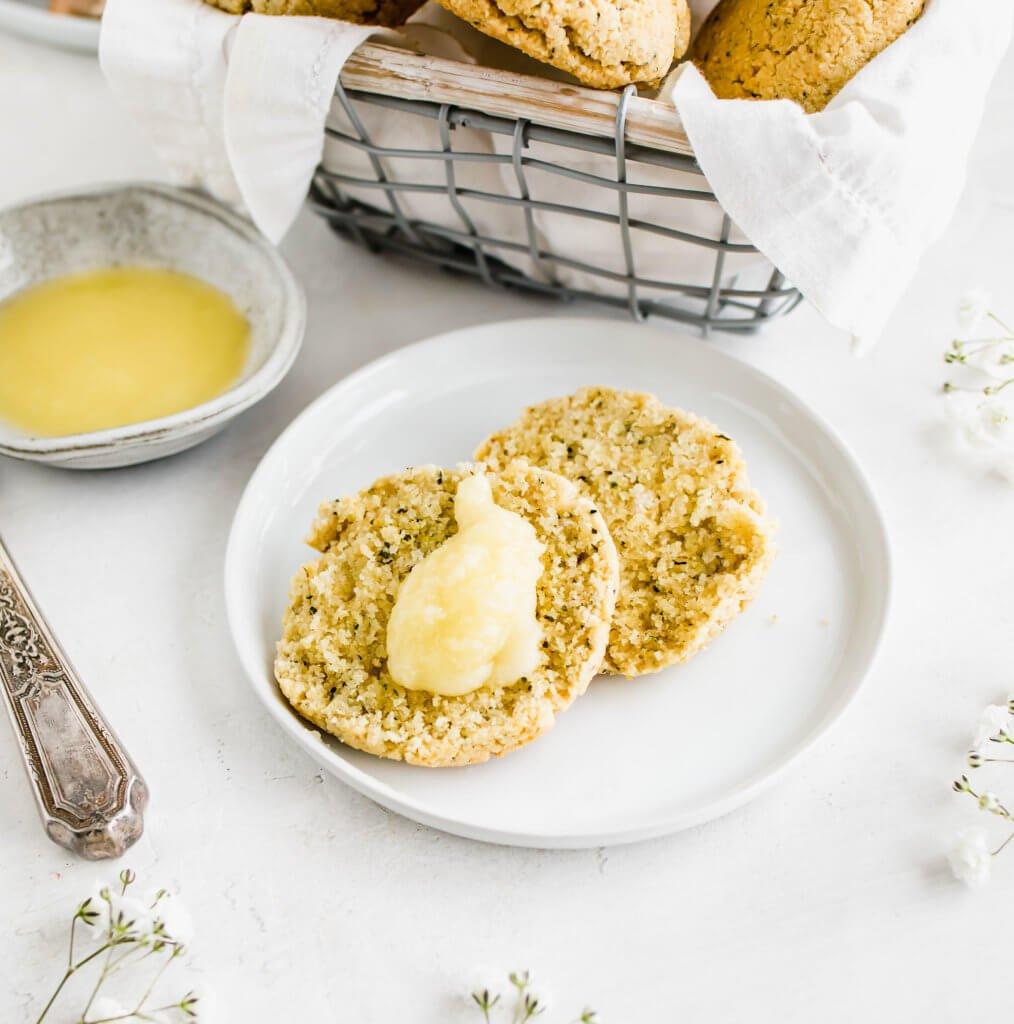 Garlic Biscuit cut in half with ghee