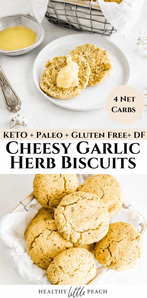 "Keto ""Cheesy"" Garlic Herb Biscuits Pinterest Pin"