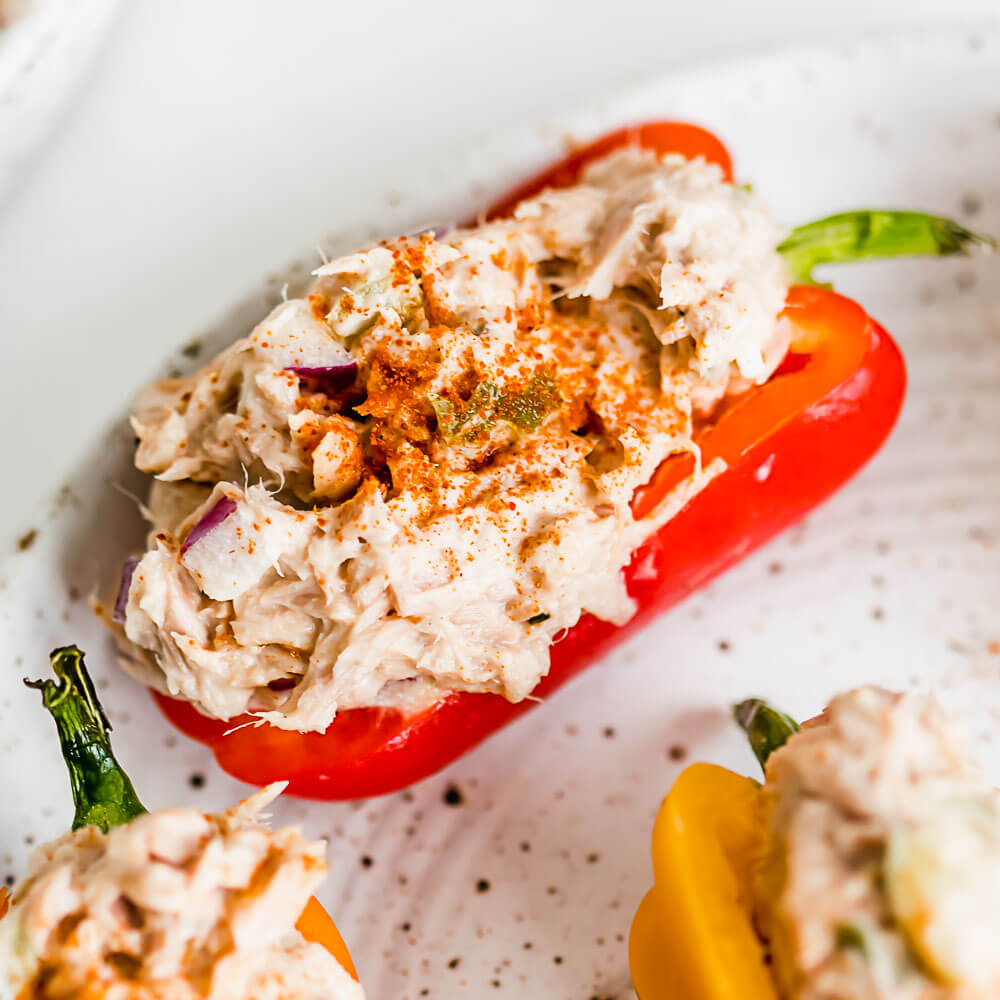 A close up photo of Tuna Salad Stuffed Mini Peppers