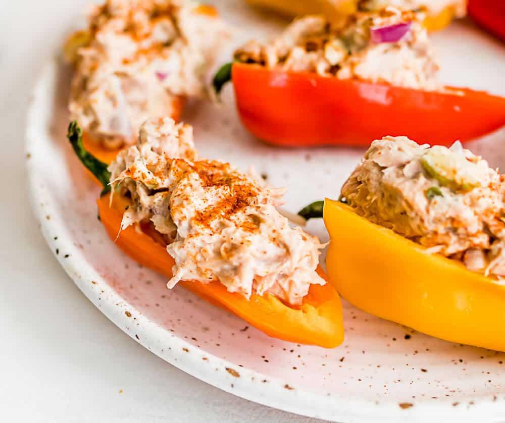 a close up picture of a stuffed pepper with tuna
