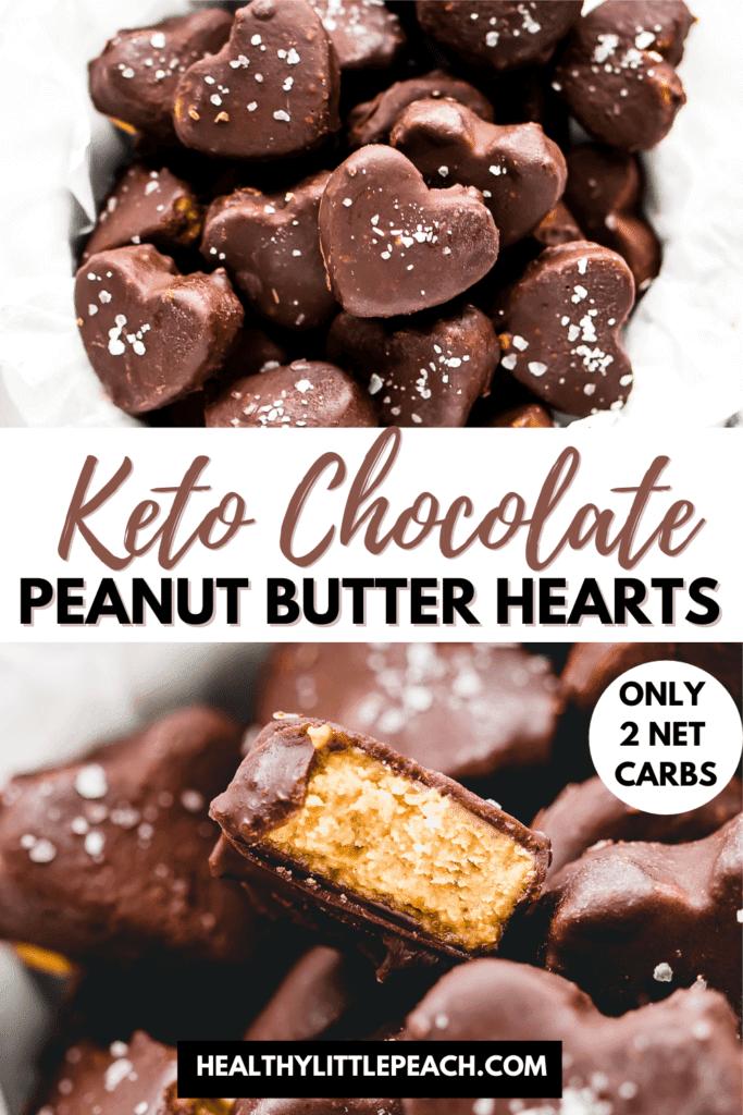 Keto Chocolate Peanut Butter Hearts Pinterest Pin