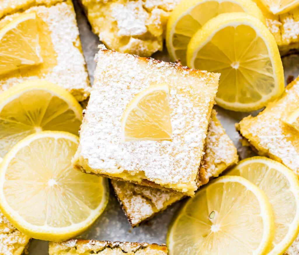 An overhead shot of a slice of the lemon bar