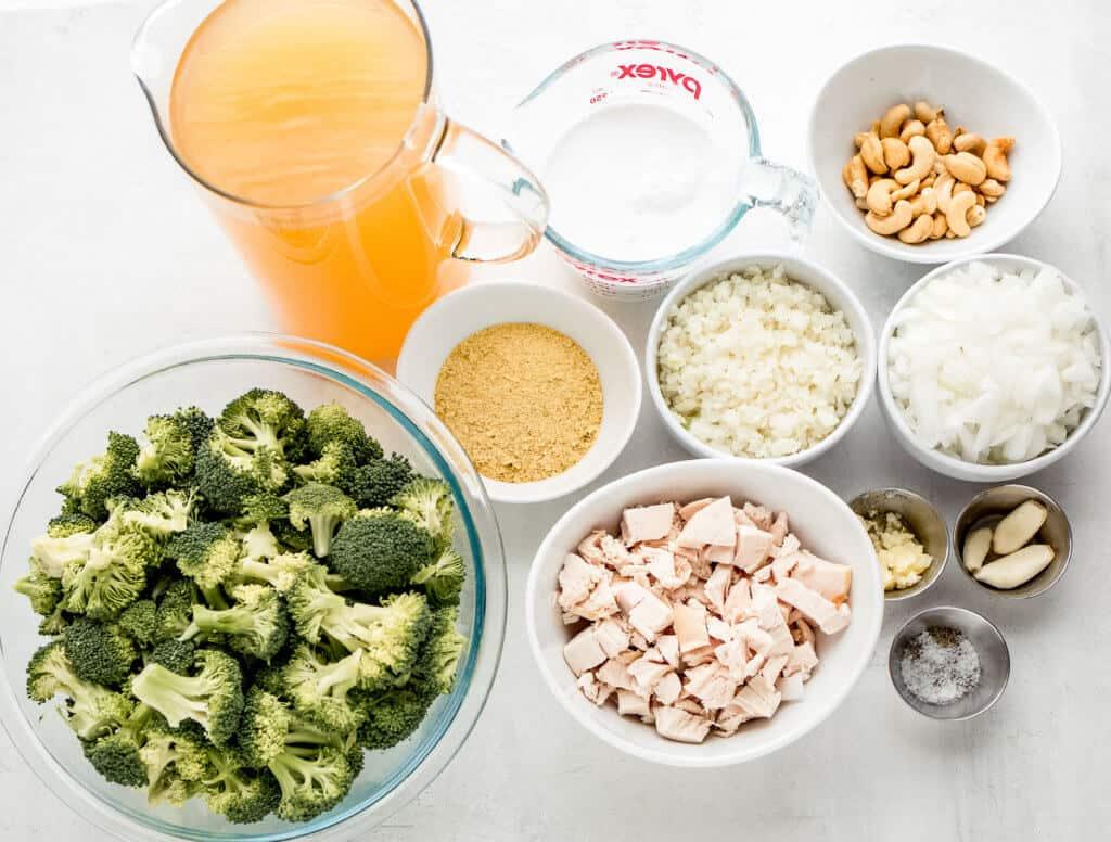 chicken broth, coconut milk, cashews, onions broccoli, chicken, garlic, salt, pepper