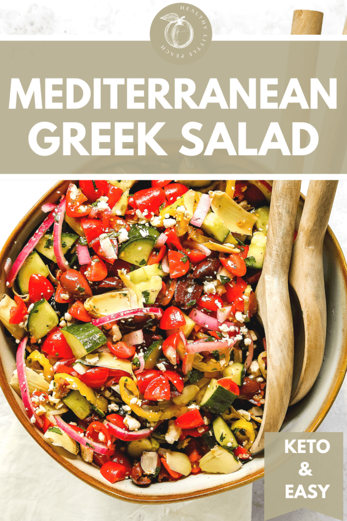 The perfect Keto Mediterranean Greek Salad. This salad is not only a breeze to make, but it's also super healthy. It requires simple and fresh ingredients that are coated in a yummy homemade Greek dressing. The perfect side dish to serve with any protein option.