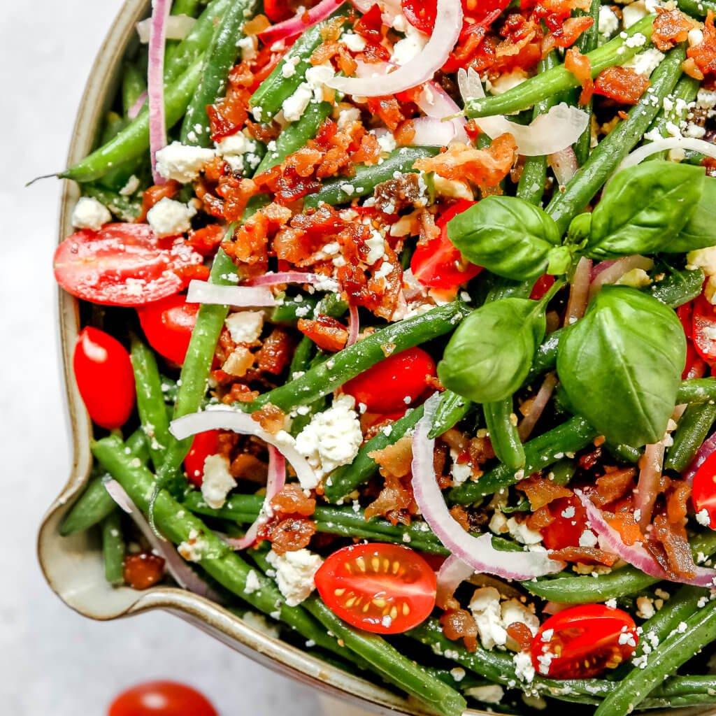 Up close photo of Fresh Green Bean Salad
